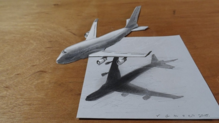 Learning Aeroplane Pencil Drawing Free Drawing Airplane - How To Draw 3D Airplane, Boeing 747 - 3D Flight Illusion Picture
