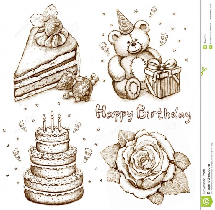 Learning Birthday Pencil Drawings Courses Set Of Birthday Illustrations Stock Illustration - Illustration Of Pic