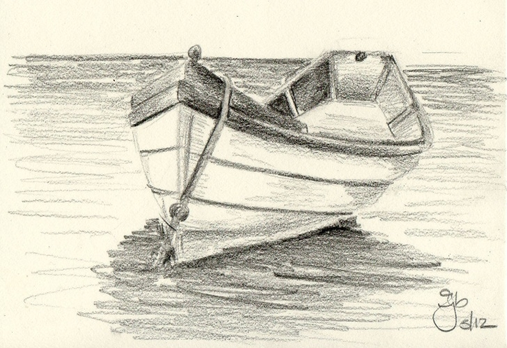 Learning Boat Pencil Sketch Easy Boat On Water - 4X6 - Pencil Study | Art Couture | Pencil Drawings Photos