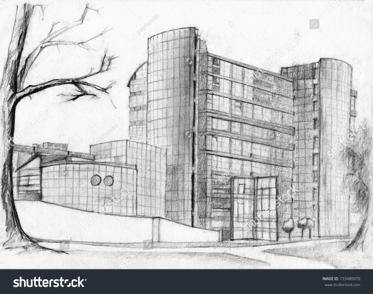 Learning Building Pencil Sketch Techniques Pencil Sketch Construction And Architectural Sketch Modern Bank Pics