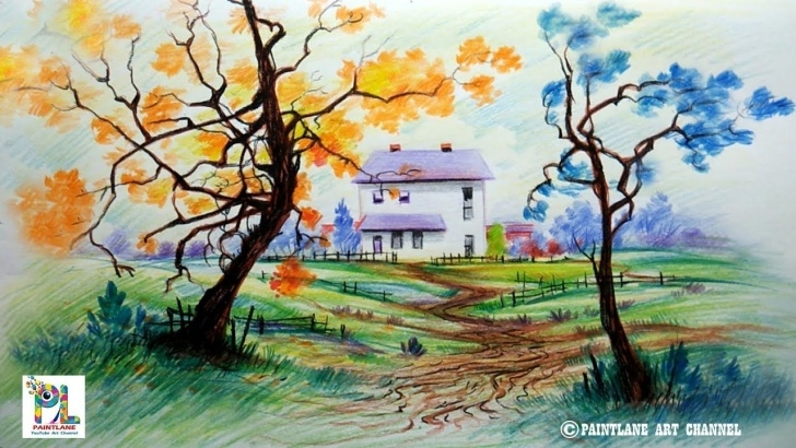 Learning Colored Pencil Landscape Easy How To Draw Scenery With Color Pencils For Beginners   Step By Step Picture