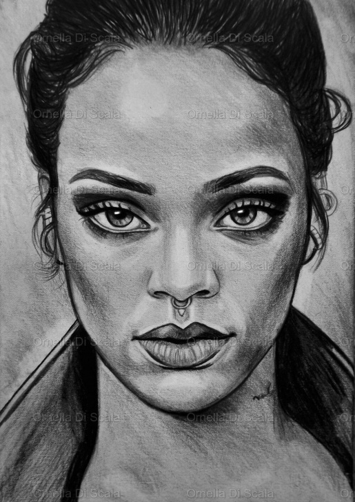 Learning Cool Portrait Drawings Easy Rihanna Sketch | Rihanna Art In 2019 | Art Sketches, Art Drawings Photos