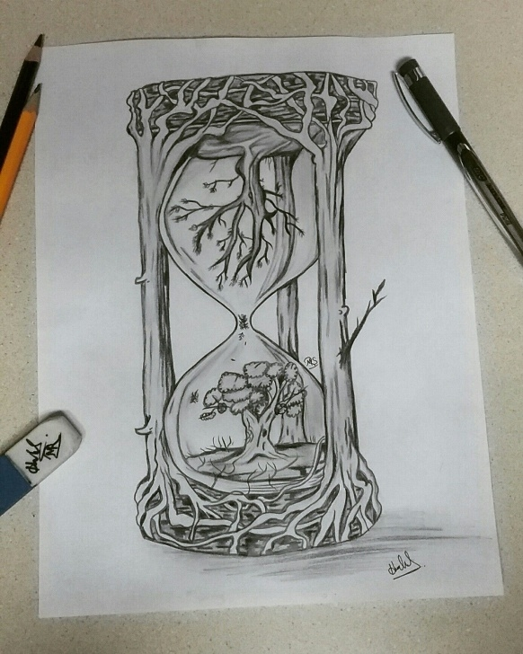 Learning Creative Pencil Sketches for Beginners Creative Hourglass Drawing. | My Artwork In 2019 | Hourglass Pic