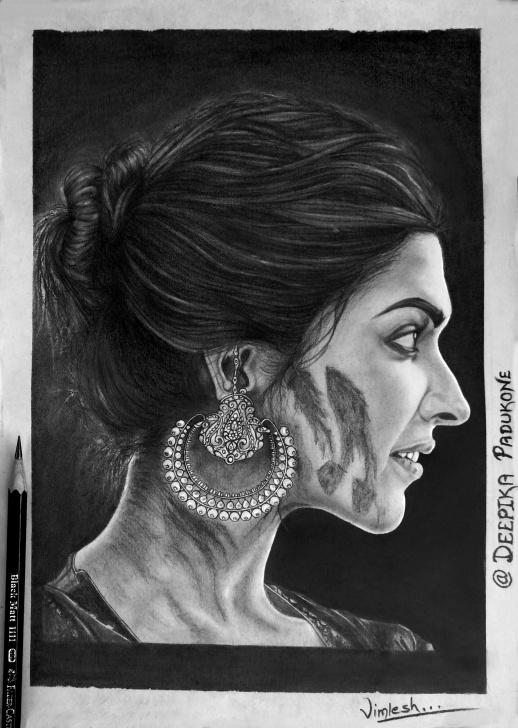 Learning Deepika Padukone Pencil Sketch Simple Portrait Drawing - Deepika Padukone | Drawing Stuff In 2019 | Easy Photo