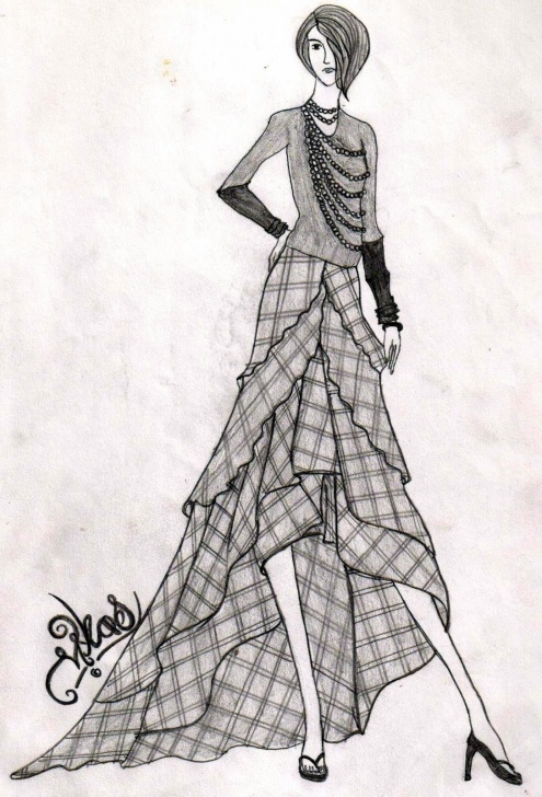 Learning Fashion Illustration Pencil Sketches Tutorial Checkered Dress | Pencil Drawings In 2019 | Pencil Drawings Image