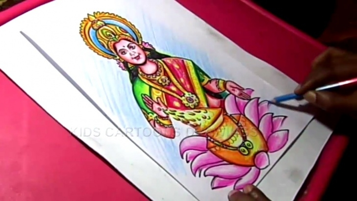 Learning Goddess Lakshmi Pencil Sketches Lessons How To Make Hindu Goddess Varalakshmi Ammavari Decoration Step By Picture