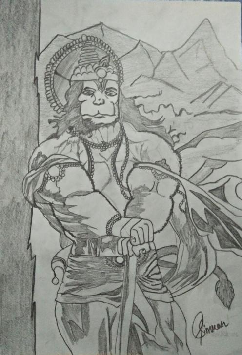 Learning Hanuman Pencil Sketch Courses Hanuman Drawing, Pencil, Sketch, Colorful, Realistic Art Images Pic