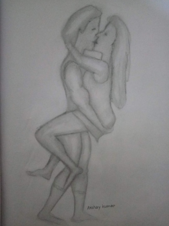 Learning Hug Pencil Sketch for Beginners Akshay Kumar: Color Pencil Drawing Of Romantic Love Couple By Artist Image