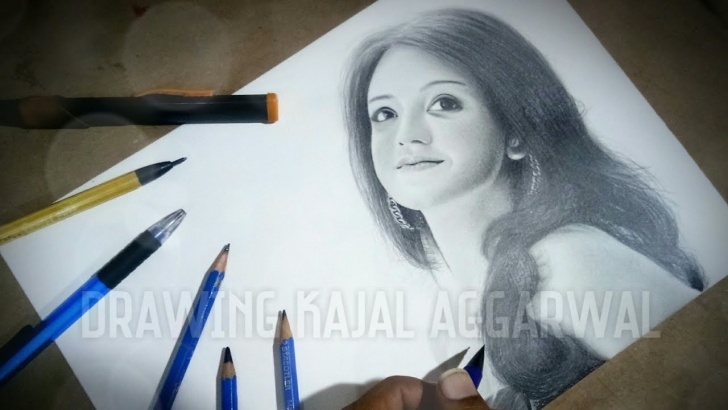 Learning Kajal Agarwal Sketch Simple Drawing Kajal Agarwal - Perfect Pencil Drawing | How To Draw Realistic  Portrait Drawing |Tollywood Image