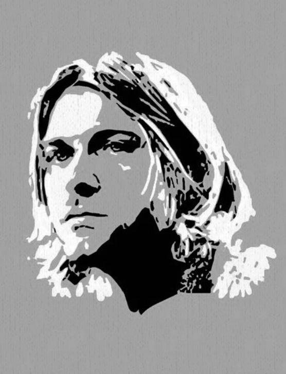 Learning Kurt Cobain Stencil Art Tutorial Colorful Kurt Cobain Fan Art Silhouette 8X10 Fabric Block - Various Colors  To Choose From - Buy 2, Get 1 Free Photos