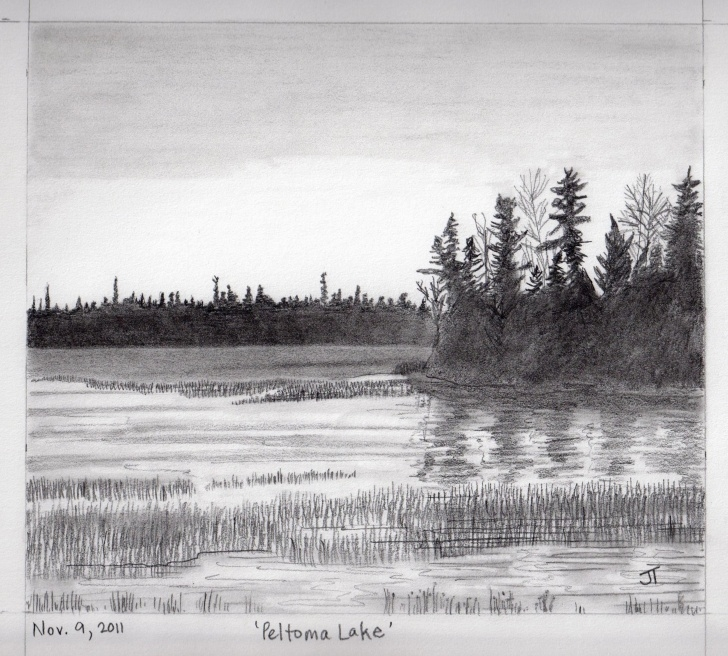 Lake Pencil Drawing