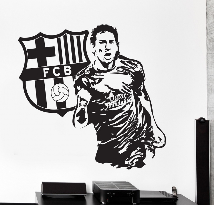 Learning Messi Stencil Art Step by Step Wall Vinyl Decal Lionel Messi Sport Soccer Football Fc Barcelona Picture