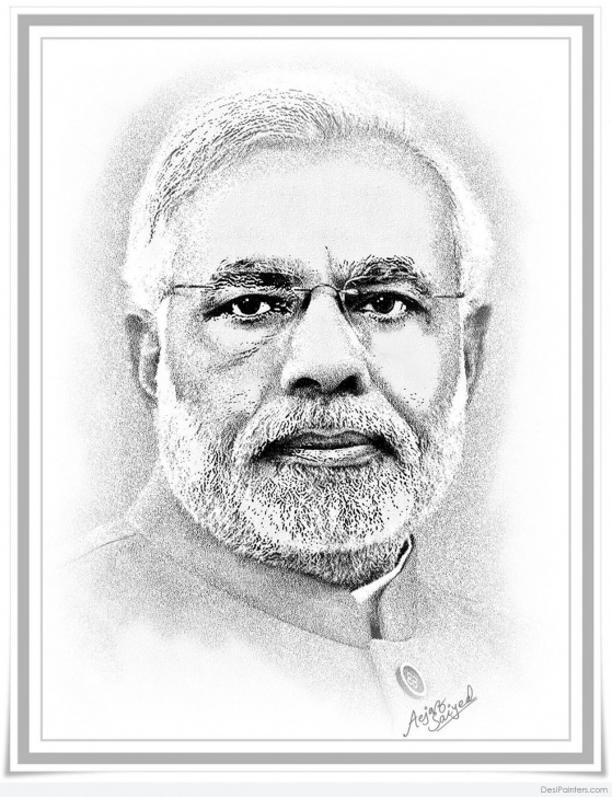 Learning Modi Pencil Sketch Tutorial Narendra Modi Drawing, Pencil, Sketch, Colorful, Realistic Art Pic
