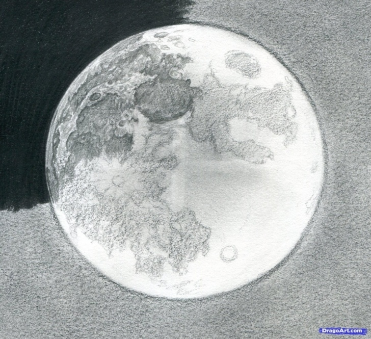 Learning Moon Pencil Drawing Simple Moon Pencil Sketch At Paintingvalley | Explore Collection Of Picture