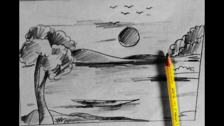Learning Nature Pencil Art Techniques How To Draw Scenery Of Village Nature Scenery With Pencil Step By Step By  Pencil Sketch Pics