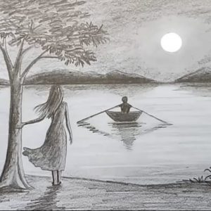 Learning Pencil Art Drawing for Beginners How To Draw Scenery Of Moonlight Night By Pencil Sketch.. Step By Step Photos