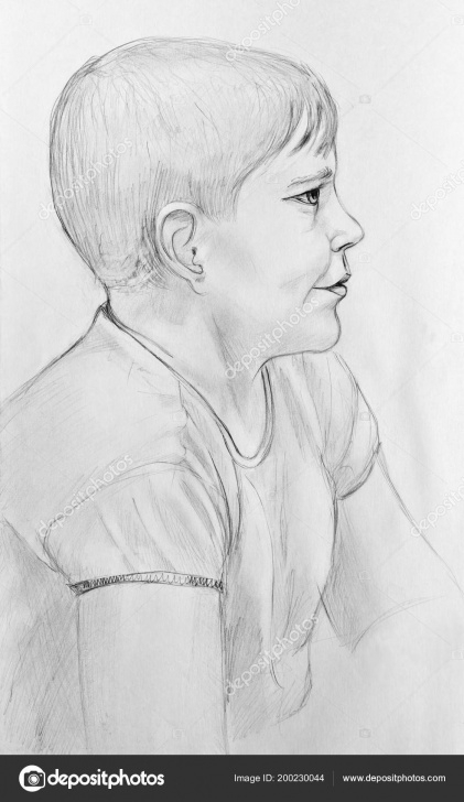 Learning Pencil Drawing Of Boy for Beginners Portrait Happy Boy Pencil Drawing Paper — Stock Photo © Kharhan Photos