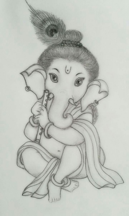 Learning Pencil Drawing Painting Free Sri Ganesha Pencil Sketch.. | Sri Ganesh Art | Ganesha Sketch Photos