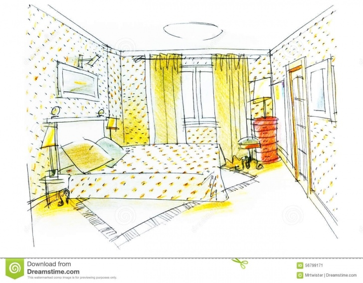 Learning Pencil Sketch Of A Bedroom Simple Bedroom Drawing With Color Pencil Stock Illustration - Illustration Pic