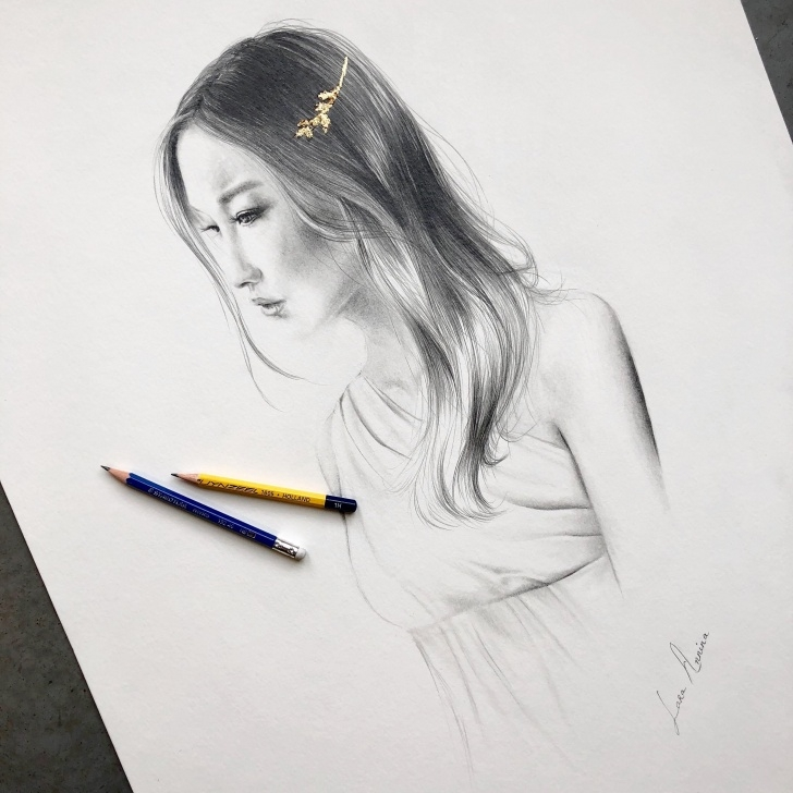 Learning Pencil Work Drawing for Beginners My Latest Drawing. Merged Pencil Work With Gold Leafs And This Is Image