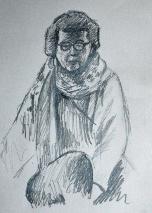 Learning Quick Pencil Sketches Courses Lady With Scarf Quick Pencil Sketch | Sattie Charcoals | Sketches Pics