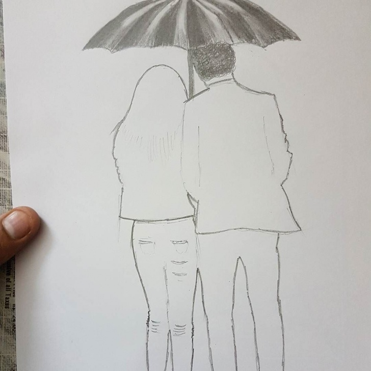 Learning Rain Pencil Drawing Step by Step Couple In Rain #2 . . . . . #wip #sketch #shadesofgray #couples Pictures