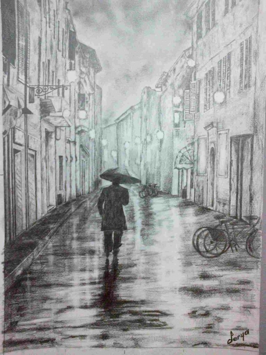 Learning Rainy Day Pencil Drawing Simple Rainy A Rainy Day Drawing Day Street Charcoal Drawing Pencil Image