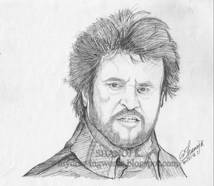 Learning Rajinikanth Pencil Drawing Lessons Rajinikanth - Sketch Using Pen || Rainbow - The Colour Of Life Pic