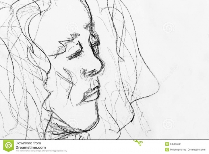Learning Rough Pencil Sketches Step by Step Quick Pencil Sketch Of Woman Stock Photo - Image Of Drawing, Hobby Pictures