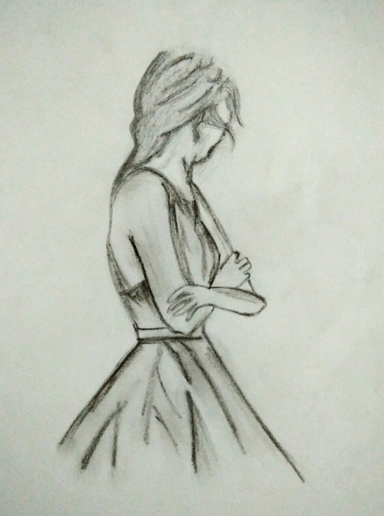 Sad Girl Pencil Drawing