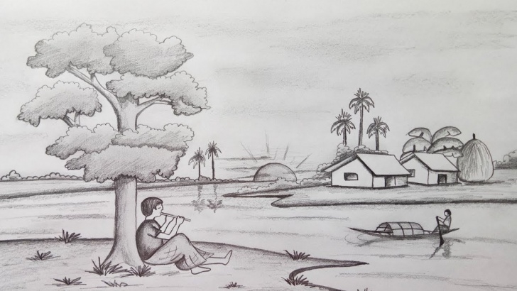 Learning Scenery Pencil Drawing Techniques for Beginners How To Draw Scenery / Landscape By Pencil Sketch.step By Step (Easy Draw) Picture