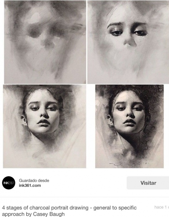 Learning Step By Step Charcoal Portrait Tutorial Estudio De Rostro Con Carbón | Accessories | Charcoal Art, Drawings Image