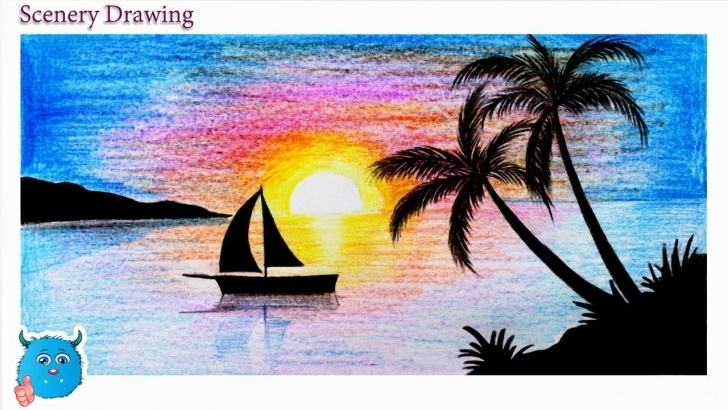 Learning Sunset Drawings In Pencil Tutorials Sunset Scenery Drawing In Pencil For Beginners Step By Step Image