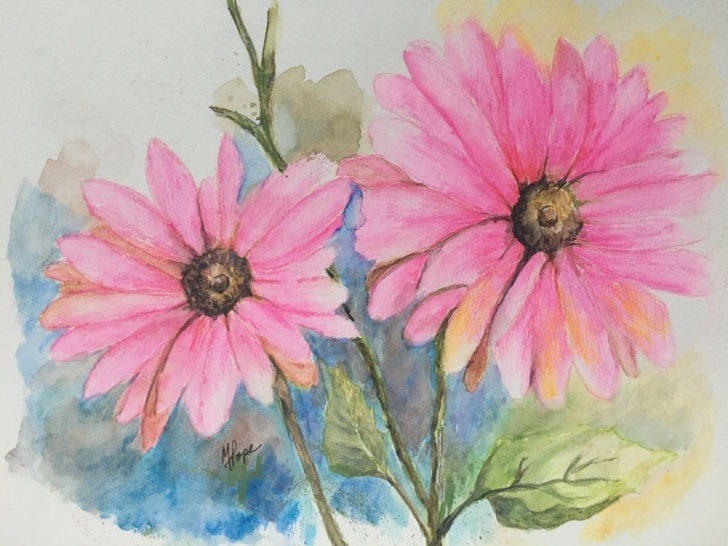 Learning Watercolor Pencil Flowers Tutorials Watercolor Pencil Flowers/watercolor Pencils/pink Flowers/home Decor/floral  Watercolor/8 X 10/watercolor Pencil Painting/floral Painting Photo