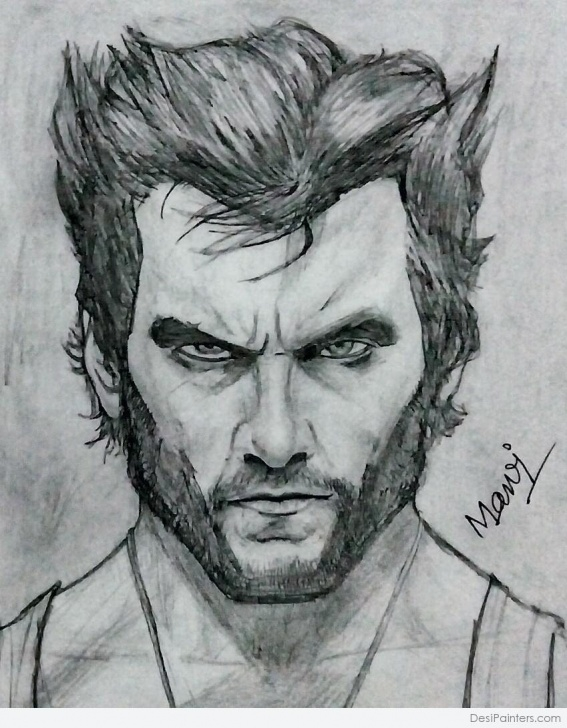 Learning Wolverine Pencil Drawing Free Pencil Sketch Of Hugh Jackman As Wolverine | Desipainters Images
