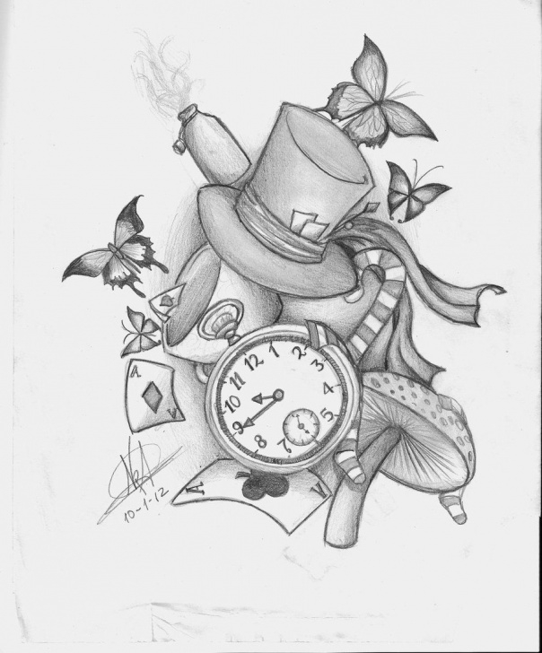 Marvelous Alice In Wonderland Pencil Drawings Courses Alice In Wonderland Tattoo Idea. Like The Concept, Not Necessarily Images