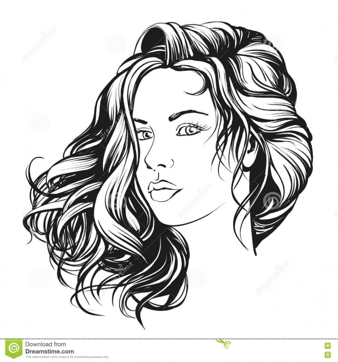 Marvelous Beautiful Woman Sketch Simple Beautiful Woman Face Hand Drawn Vector Illustration Sketch Stock Photos