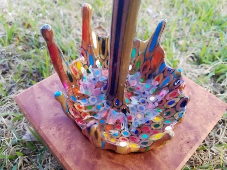 Marvelous Colored Pencil Carving Lessons A Floating Coffee Cup Pours A Rainbow Of Liquid Pencils | Colossal Photos