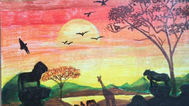 Marvelous Colour Pencil Drawings Nature Lessons African Sunset Drawing | Drawing Of Nature With Colour Pencils | P V Photos