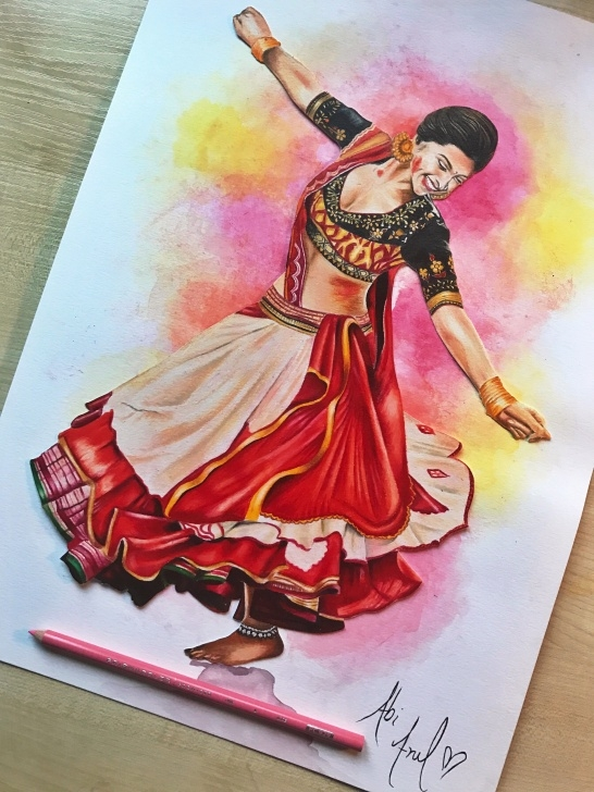 Marvelous Colour Pencil Shading Drawing Easy Deepika Padukone Ram- Leela Drawing Prismacolors Colouring Pencils Picture