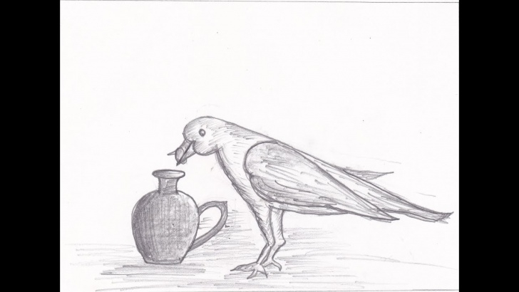 Marvelous Crow Pencil Drawing Courses How To Draw Thirsty Crow Sketch Drawing Tutorial !! Part 2 !! Drawing For  Kids !! Image