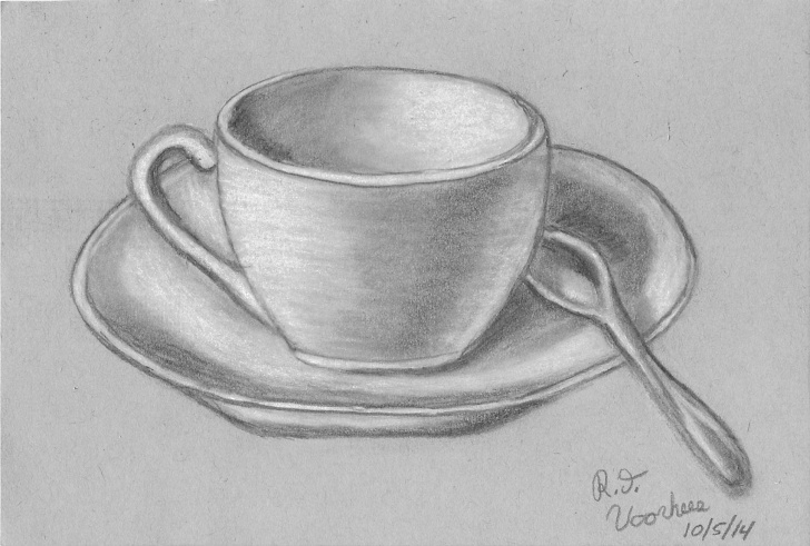 Marvelous Cup And Saucer Pencil Drawing Ideas Cup And Saucer, Drawn With Graphite Pencil, Charcoal And White Photo