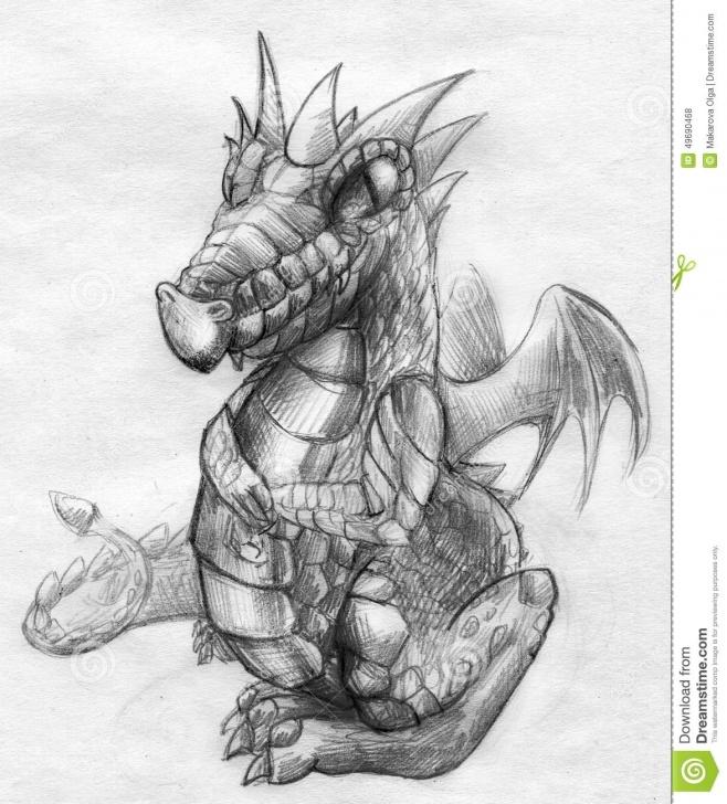 Marvelous Dragon Pencil Sketch Simple Dragon Pencil Sketch Stock Illustration. Illustration Of Animal Photos