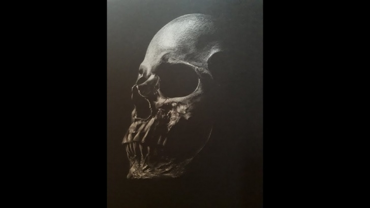 Marvelous Drawing On Black Paper With White Pencil Simple Drawing A Skull (Skeleton) With Pencil (White Pencil)On Black Paper Photo