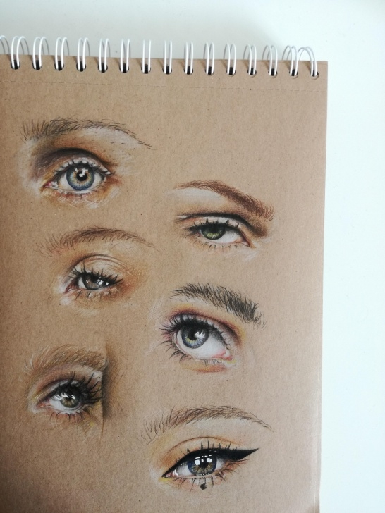 Marvelous Faber Castell Polychromos Drawing Lessons Eye-Studies (Faber-Castell Polychromos On Brown Paper) : Drawing Pics