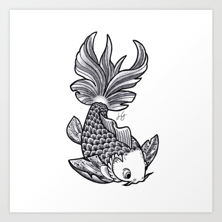 Marvelous Fish Pencil Sketch Lessons Fish Handmade Drawing, Made In Pencil, Charcoal And Ink, Tattoo Sketch,  Tattoo Flash, Carp Koi Art Print Pic