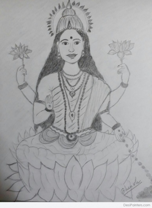 Marvelous Goddess Lakshmi Pencil Sketches Free Pencil Color Art Of Goddess Lakshmi | Desipainters Pics