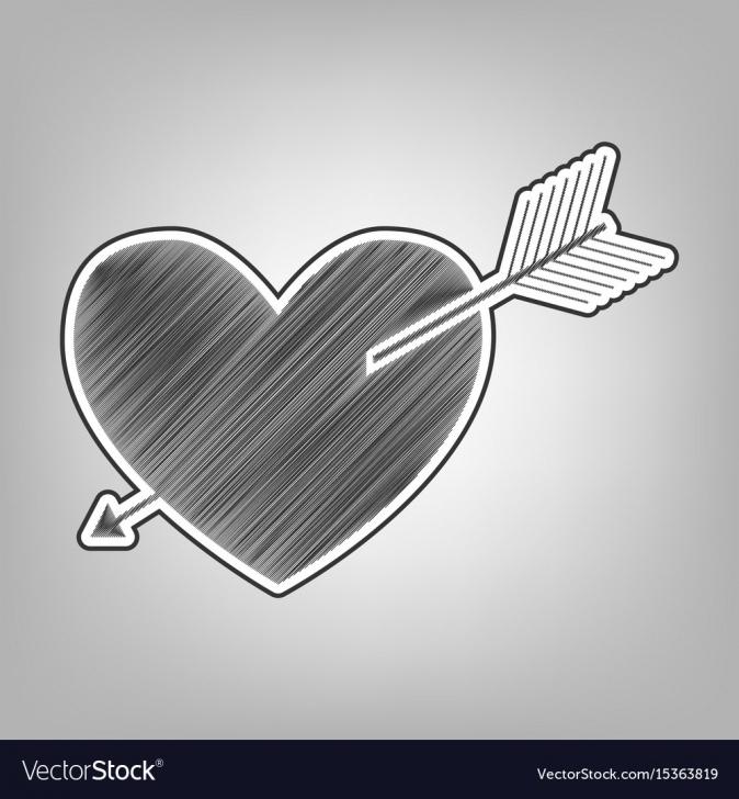 Marvelous Heart Pencil Drawing Ideas Arrow Heart Sign Pencil Sketch Imitation Pics
