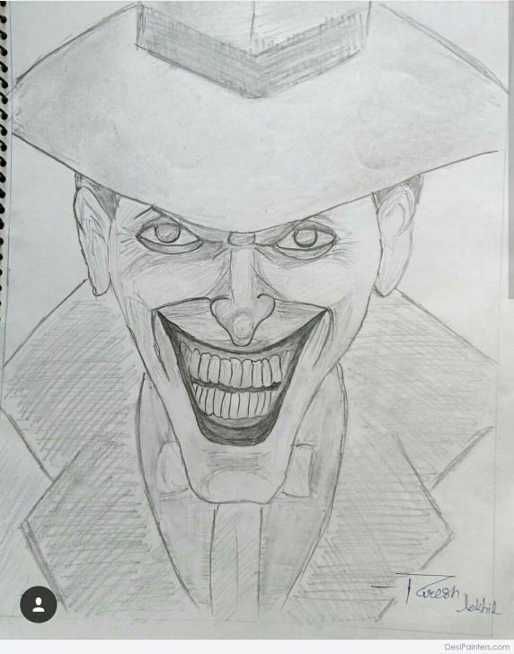 Marvelous Joker Pencil Sketch Free Pencil Sketch Of Joker | Desipainters Pictures