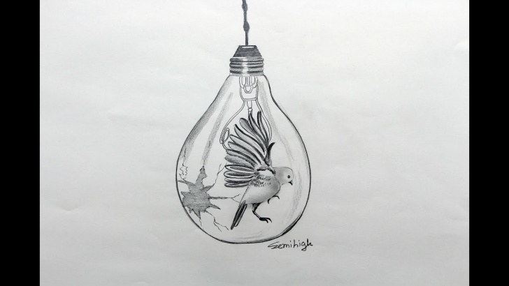 Marvelous Light Bulb Pencil Drawing Free How To Draw A Bird In Light Bulb | Pencil Sketch Images